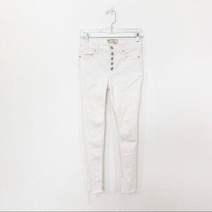Free People White 5 Button Raw Hem Skinny Jeans